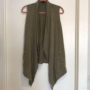 Olive green open front  vest